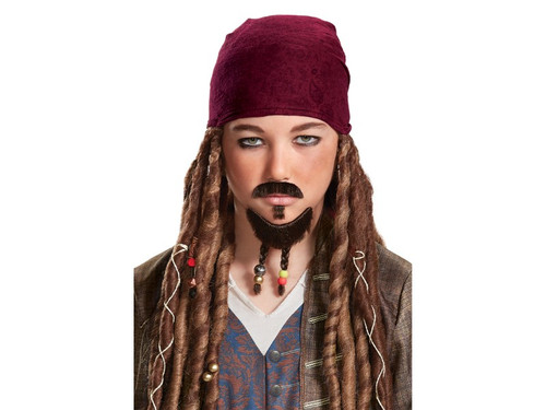 When you want to look just like Jack Sparrow, the lead character from the blockbuster movie The Pirates of the Caribbean 5, this is the perfect accessory! This goatee and mustache will allow you to fool even your closest friends and steal their treasure! One size fits most children.