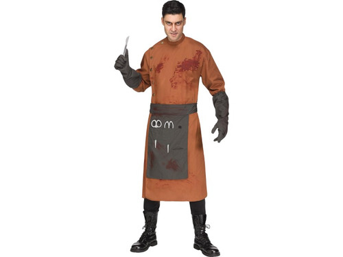 This will only hurt for a minute-I promise! This men's Demented Doctor Costume is guaranteed to be disturbing and frightening. Costume includes blood splattered lab coat with snap front closure, apron, matching gloves and 3 EVA surgical tools. Add a little of your own dark eyeshadow around your eyes for an extra sinister look! Adult standard size fits men up to 6 ft, 200 lbs.