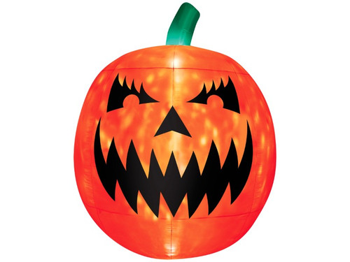 Light up your yard this Halloween with this giant inflatable Jack-O-Lantern! This scary pumpkin decoration stands 9.5 feet tall and features a kaleidoscope LED light inside that projects a swirling light show of colors for a spooky effect. Easy to use and includes everything needed for set-up. Simply plug into a standard outlet and the pumpkin self-inflates in seconds and deflates for easy storage. The weather-proof fabric makes this inflatable a great outdoor Halloween decoration that will enthrall all the children in the neighborhood!
