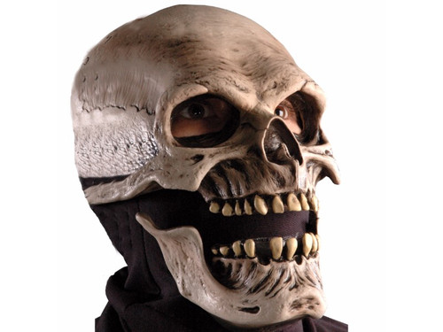 Full over-the-head latex mask with latex front and fabric head cover for cool, comfortable fit. Great realistic skull mask with moving jaw. One size fits most adults.