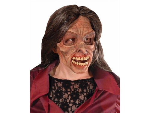 Female zombie style mask with sunken eyes and high cheek bones. Long old lady hair is attached for that old rotted look.