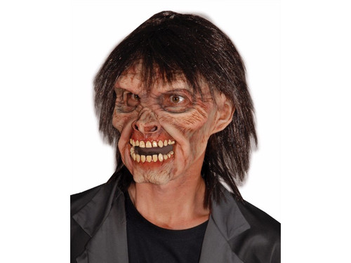 Zombie style, high cheek bone, sunken eyes, latex mask with hair attached.