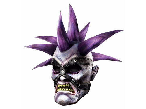 Full over-the-head latex mask of your favorite World of Warcraft character. Has silver face with studded face straps and purple spiked hair.