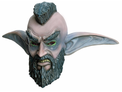 Full over-the-head latex mask of your favorite World of Warcraft character. Comes with grenade accessory. Has a black mohawk and beard, and large ears.