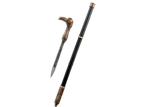 This beautiful replica of Jacob Frye's sword is black with embellished gold detail and is topped with a golden bird handle that pulls out to reveal an elaborately decorated knife. Perfect accessory for your Assassin's Creed costume! This is an officially licensed Assassin's Creed accessory.