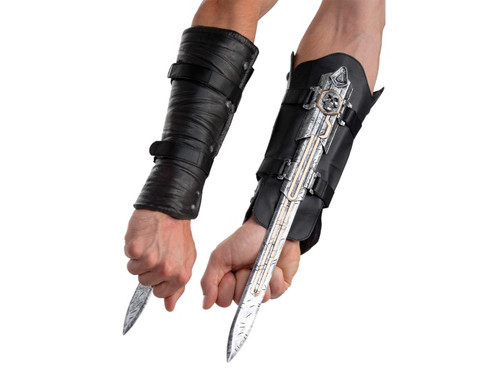 Excellent weapon of choice for your Assassin's Creed Edward costume! Edward's black arm gauntlet has a Velcro band closure and a hidden silver extendable blade with skull detail. Blade is made of safe plastic. This is an officially licensed Assassin's Creed accessory.