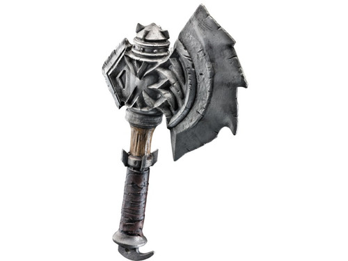 18-inch axe modeled after weapon used in the new movie Warcraft based off of the Worlds of Warcraft game. Plastic.