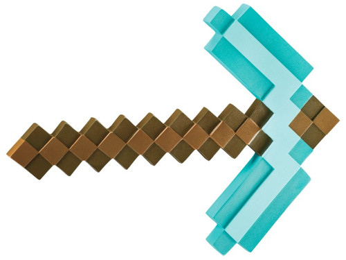 "Ready to battle Creepers and dig for resources? In the hit video game, Minecraft, the pickaxe is an essential tool and this accessory brings it to life! The pixel detailing makes it look just like the video game weapon. This Minecraft accessory is made out of lightweight plastic so you can take it everywhere. It is 15.75"" long, and 12"" wide. Mine away!! This is an officially licensed Minecraft product."