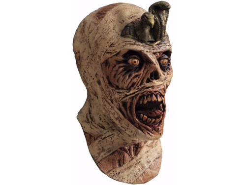 A great new mask of a gruesome-looking mummy complete with bandaged-look and chunks of flesh missing with a real rotted look.  Full over-the-head mask.  One Size.