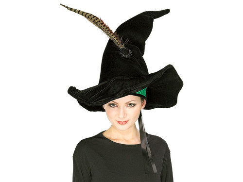 This is the perfect accessory for making your favorite witch look just like her favorite character from the Harry Potter series! Wide brim witch hat with feather. One size fits most.