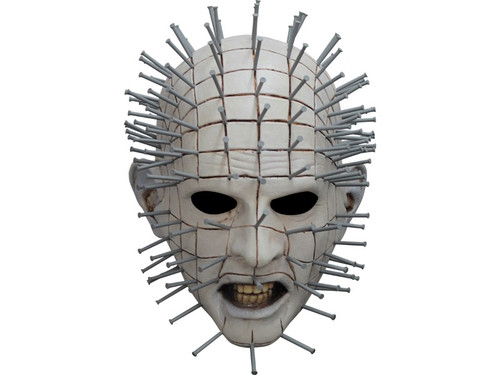 An incredibly detailed mask of the classic character Pinhead from the movie Hellraiser III. 100% latex. Individually hand-painted for the best look. Full over-the-head latex mask. One size fits most adults.
