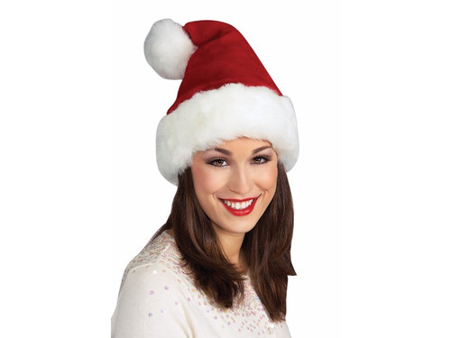 Nothing says holiday spirit like a plush Santa hat! Those iconic red and white colors give everyone a warm fuzzy feeling. So exemplify your holiday spirit with this classic Santa cap made from deep crimson faux-velvet trimmed in plush white with a fuzzy ball at the top. Wear this Santa hat to add some holiday sparkle to your everyday clothes or go all out with a full Santa costume! One size fits most.