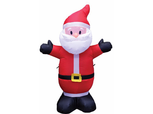 Set a festive holiday mood with this self-inflating 4 feet tall Santa. Inflates in seconds, weather resistant, easy to set up, lights up with energy efficient LED and can be used indoors or outdoors. Simply plug into any 110 outlet.