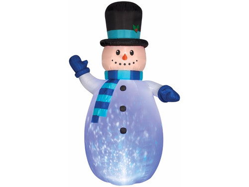 Turn your lawn into a magical winter wonderland with this 12 foot tall inflatable Snowman decoration. Snowman has a kaleidoscope LED light inside that projects a light show of colors for a captivating effect. Prop is easy to use and includes everything needed for set-up, including stakes and tethers. Simply plug into a 110 outlet and the snowman self-inflates in seconds and deflates for easy storage. The weather-proof fabric makes this inflatable a perfect indoor or outdoor Christmas decoration.