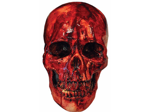 This skeleton head appears to have just had its flesh ripped completely off!  A great prop for your haunted house or your home display. Resin cranium with blood splatter for interesting look. Item is 8 x 4 x 6 inches in dimension.