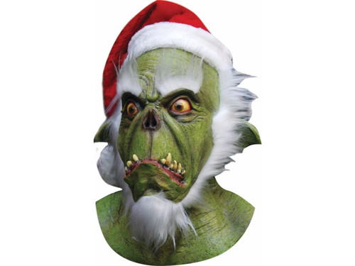 This is one demented Santa Grinch who stole Christmas.  A very strange mask that is sure to get the attention of all those who encounter it.  Green in color with white beard and Santa hat attached. Unique and definitely an addition to any costume.  Individually hand painted for the most realistic look possible.
