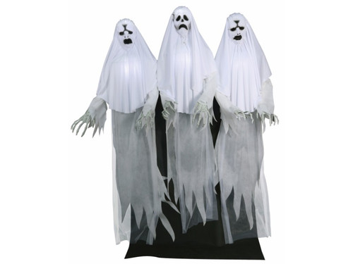 Introducing the Trio Of Haunting Ghosts!  These scary ghosts can stir up some ghostly trouble with this year's halloween display.  These three 6 foot Ghost characters have fabric-covered PVC heads with light-up faces & torsos, draped white fabric costumes, posable arms with creepy plastic long-fingered hands, and a black fabric drape to hide the easy-to-assemble frame. Plug in the UL power adapter into any standard outlet & choose from Steady-On, Infra-Red Sensor or Step-Here Pad (included) activation options to operate. Once activated, the Haunting Ghost Trio will begin moaning as their faces and chests light up with an other-worldly glow as each Ghost sways from side to side, wailing in eternal torment! The infra-red sensor works up to 6.5' feet away & works in all lighting conditions - bright light to no light! Item includes volume control. Easy-to-assemble quick-connect poles. Assembly required.
