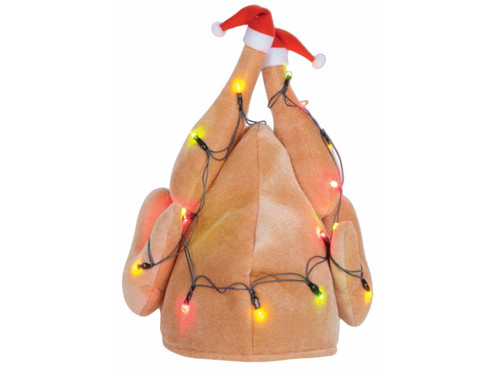 The Turkey Christmas Hat Lighted.  This is perfect for Christmas and even Thanksgiving.  This is a festive turkey-shaped headwear with Christmas lights draped over it and little Santa hats on the drumsticks. It will definitely make you the topic of conversation at any holiday party. Requires 3 AA batteries not included. Plush. One size fits most.