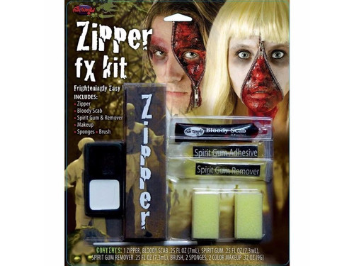 This kit includes a 7 inch zipper, 2 color makeup tray, bloody scab, spirit gum adhesive, remover, brush, and 2 sponges. Incredible effect.  Good for male or female.