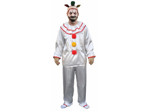 From the hit TV series American Horror Story! Official licensed Twisty The Clown Men's Costume is a perfect addition to your Twisty mask. Just add grime to your liking to look just like the creepy character for your next party! Top and pants. Mask sold separately. One size fits most men from sizes 40-44.