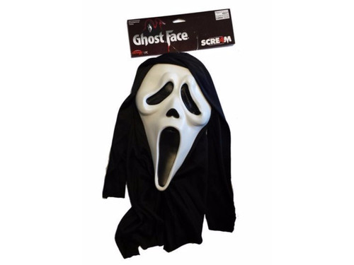 Dress up for Halloween or that upcoming Masquerade Party  with this costume from the movie Scream - Ghostface.  Fits most all adult size heads -  pulls over with a strap inside to hold securely.