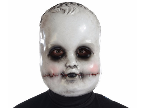 This is not your typical creepy doll on the shelf!  Perhaps a game of Purge?  Vacu-form doll face mask. One size.