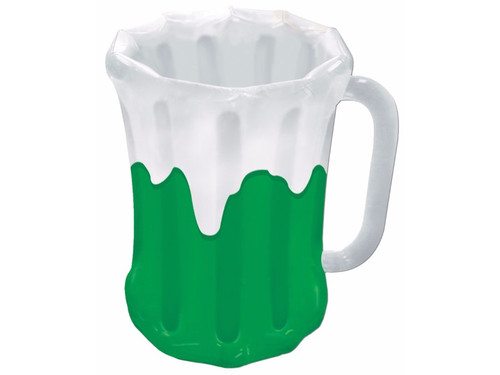 Looking for a cool piece to spruce up your football or St. Patrick's Day party scene? Our Inflatable Beer Mug Cooler is perfect for many adult party themes! This inflatable cooler stands 18 inches wide by 27 inches high and holds approximately 48 twelve-ounce cans! This product must be Inflated. It is just the decoration you need for St. Patrick's Day parties, football get-togethers and other fun festivities!