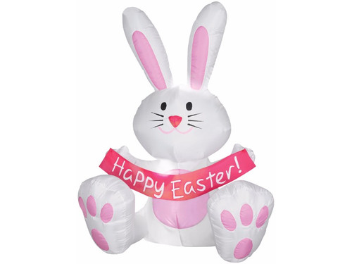 Celebrate Easter with this cute, air blown prop.  This inflatable white bunny rabbit is ready to hop along your decorations.  It self-inflates in seconds. Lights up. Stakes and tethers included. UL listed adaptor included. 42 X 36 X 24""