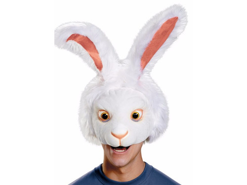 Here comes Peter Cottontail hopping down the bunny trail.  White rabbit headpiece that covers the upper portion of the head. Leaves you mouth open for all your partying needs. One size fits most adults.