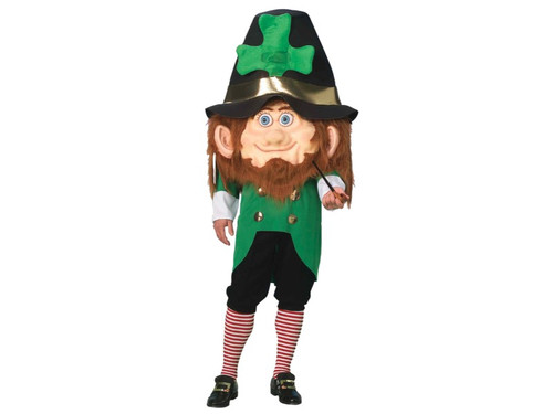 Perfect for St. Patty's Day! Oversized hat headpiece, chestpiece with face and hair and tunic. Add our own striped socks (BB284)and shoe buckles (BB221GD). Pipe not included. Add your own shoes. One size fits most adults.