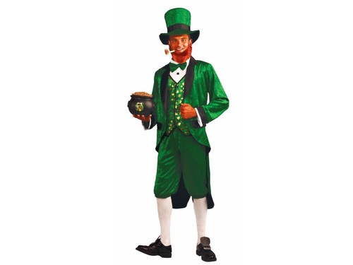"Faith and begorrah! You'll feel fit as a pot o' gold in this great leprechaun outfit! Includes green hat with black trim, green jacket with black trim and attached shirt front, bowtie, vest and pantaloons. Fits adults up to chest size 42""."