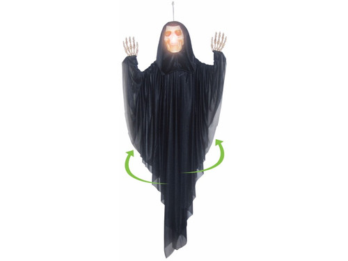 "This Spinning Grim Reaper is going to scare everyone who comes near it.  Standing 5 feet tall, the hanging reaper will light-up and has a spinning feature.  It is sound activated and makes a hauntingly realistic prop. Requires 3 AA batteries not included L 60"" x W 44"" x T 7"""
