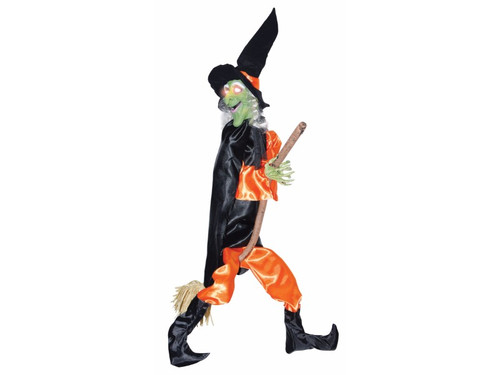 "Fun decoration great for any haunted scene! Witch has light up eyes, kicking legs, and witch sounds. Height 48"" x width 31"" x depth 5"". Requires three (3) AA batteries (not included). Sound activated. Witch with detailed molded and painted face, synthetic hair, full fabric suit with boots and matching witch hat, with attached cape and broom."