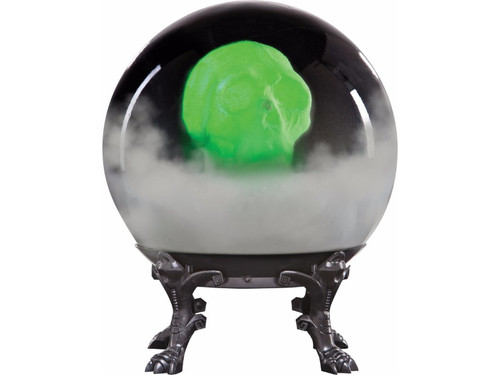 "This haunted crystal ball features a spooky skull that lights up and appears to float inside the globe as it makes scary haunting sounds. It is sound activated and battery operated with 4 AA batteries that are included in the item. Size is 21"" x 15"" x 15""."