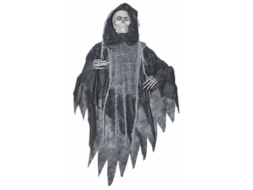 "This scary reaper, hanging 5 Ft long, is ready to frighten and take you down with him to his ultimate doom. A perfect decoration for a haunted house or party! Height 60"" x width 35"" x depth 8""."
