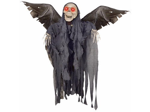 """Watch out as this Animated Winged Angel Of Death Reaper is ready to take flight and scare the screams right out of you! Easy to set up, this Animated Winged Angel Of Death Reaper will provide your Halloween home décor with the frights you crave. Reaper prop with flapping wings has light-up eyes. Requires 3 """"AA"""" batteries, not included. Sound activated. 50"""" x 42"""" x 12""""."""