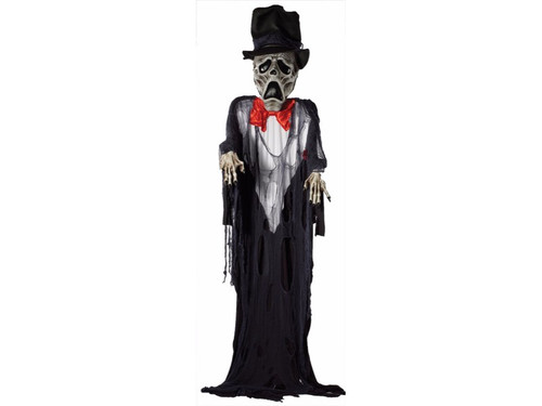 Do you want this hanging around your halloween wedding?  This horrifying, scary skeleton hanging prop is one groom you will not forget! Approximately 12 foot tall prop with enlarged head and hands. Comes with ghostly tuxedo look clothing with red tie and top hat.  He will be the attraction of the wedding party!