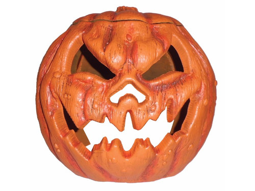 "Over-sized Plastic Pumpkin that can fit over a fog machine or strobe light, with cut-out sections for fog or light to flow out from. Easy to assemble! Fits over most fog machines or strobe lights. 15"" high 17"" wide 15"" deep. Plastic construction."