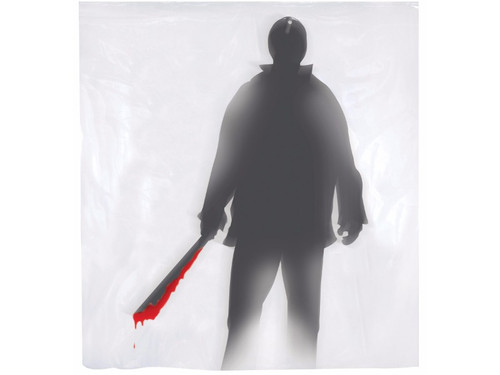 Feel a little psycho?  This Bates Motel will allow no more check ins.  A great haunted scene decoration. Shower curtain with shadow of a man holding a bloody machete on it. One size fits most showers.