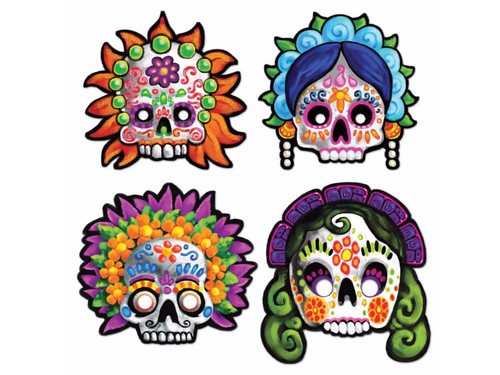Fun and colorful masks with a sugar skull motif perfect for Day of the Dead events! One size fits most. Paperboard. 4 masks to a package. 12 inch masks with elastic bands.