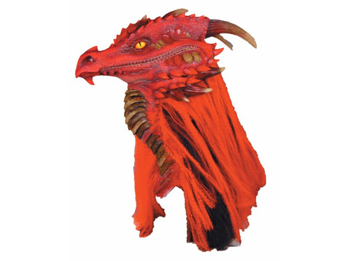 Very detailed and exquisite dragon mask! Mario Chiodo has always been known for his ultra-realistic fantasy dragon masks! Full over-the-head natural latex mask, with foam insert inside top of mask and ears for added comfort and style. With hand painted red and dark color tones and sculptural horns, scales, spikes, nostril, and under armor detailing, this mask will sure to be center of attention at any gathering! Four layers of synthetic red and black track hair is properly sown onto the sides and back of mask, giving this mask great hair coverage. Measurements - 25 in. (from front of nose to back of horn), 21.5 in. from top head of mask to bottom of neck, and width 10.5 in. Openings - eyes, nose, and mouth. All openings as located below the dragons jaw along the under armor, so that the dragon's head sits high on the wearers head. Mask has full split in back of head, so that it can adjust to any size head. Holes trimming and fitting instructions included. Care instructions - wipe with damp cloth only, no bleach. Not a toy; for decorative use only. Ages 14 and up.