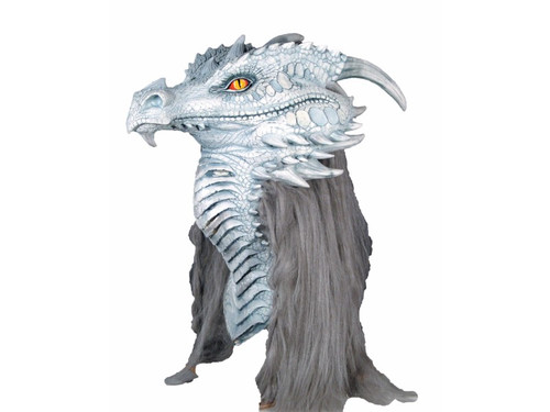 """Mario Chiodo has always been known for his ultra realistic fantasy dragon masks! Full over-the-head latex mask in ancient grey with grey hair covering the back. Measures 25"""" from tip of nose to tip of horn and about 21.5"""" from top of eye to bottom of neck."""