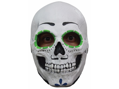 Full over the head latex sugar skull mask. Male. Individually hand painted for the most realistic look possible. One size fits most adults.