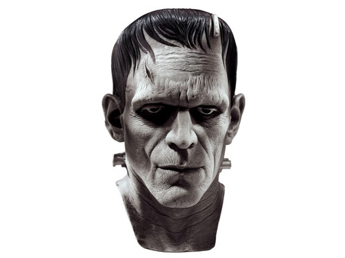Shocked to life after being pieced together, Frankenstein is created with this complete over the head mask. Deluxe latex construction. Each mask is individually hand painted. Greenish gray skin coloration. Universal Silver Screen Edition.