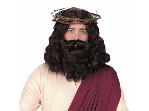 This year's Jesus in your easter pageant will look authentic with this wig & beard!  Shoulder length, wavy brown wig, matching beard with attached mustache.  Crown of Thorns and Outfit not included.