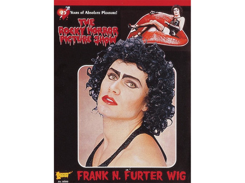 It's just a jump to the left!  Get this black, curly wig to go with your Frank N Furter Costume.  Black, curly character wig. One size fits most.