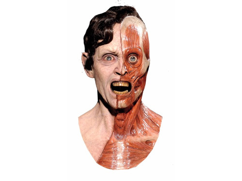 Unique and unusual mask that will get the attention of all you come across.  This is a limited edition collector's mask. Individually sculpted and hand painted. Detailed face with exposed muscle. Half looks normal complete with hair, and the other half is skinless muscle and bone.  One size.