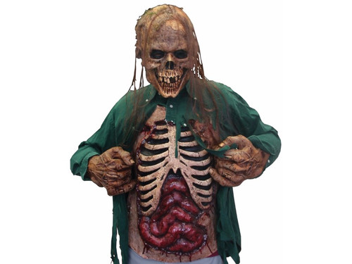 This Gory Zombie Chest made of all latex is grotesquely realistic. Pull open your shirt to reveal your rib cage and exposed entrails. Chest attaches around the neck and lower torso. 23 x 19 inches.  This can compliment any zombie head mask to complete any costume you want to put together.