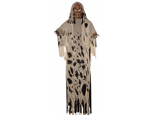 This Ghoul Ghost Zombie Hanging 12 Ft Prop is great for a haunted house or your own at home display. It is a 12 foot hanging prop with a large polyfoam head and hands with a frame that is draped with black robe and tattered gauze.