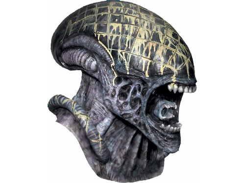 Whoever wins...we lose. From the hit movie, Alien vs. Predator, this Deluxe Alien full over-the-head high grade natural latex mask is sure satisfy your appetite of all things Alien. Mask measures 21 inches from front to back, 15 inches from top of mask to bottom neck area, and 7 inches across. Lightweight mask has detailed flesh ripping, teeth gnarling, head and neck bulging, crafty designs with mouth open and inner jaw poised to strike. Foam padding on inside for a comfortable fit. Alien wearer may add extra stuffing in back of mask for a fuller look. Complete your Alien costume with this mask.